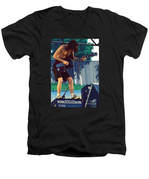 Angus Young Of A C D C At Day On The Green Monsters Of Rock Men's V-Neck T-Shirt