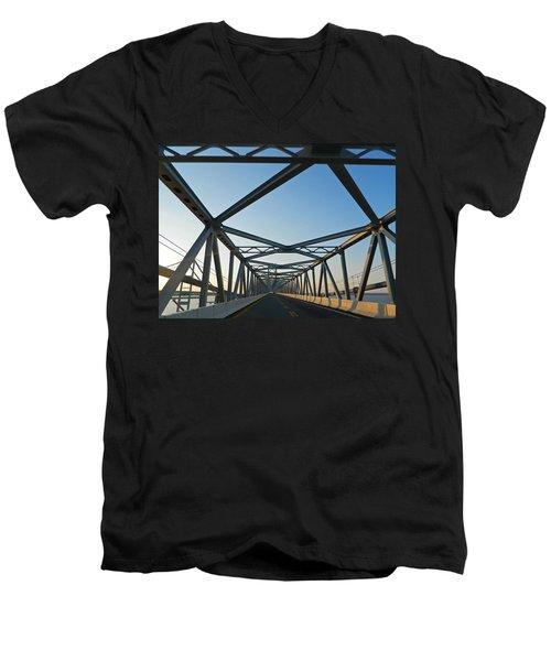 Annapolis Bay Bridge At Sunrise Men's V-Neck T-Shirt by Emmy Marie Vickers