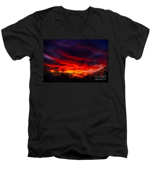 Men's V-Neck T-Shirt featuring the photograph Another Tucson Sunset by Mark Myhaver