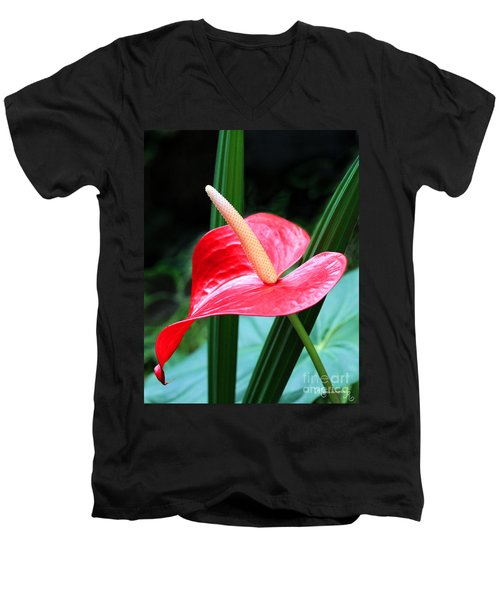Men's V-Neck T-Shirt featuring the photograph Anthurium by Mariarosa Rockefeller