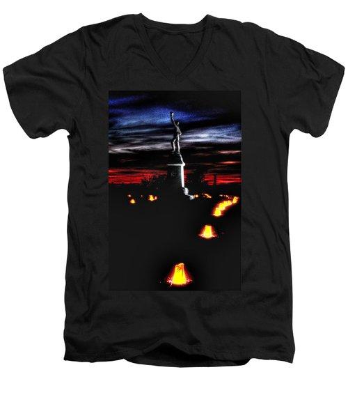 Men's V-Neck T-Shirt featuring the photograph Antietam Memorial Illumination - 3rd Pennsylvania Volunteer Infantry Sunset by Michael Mazaika