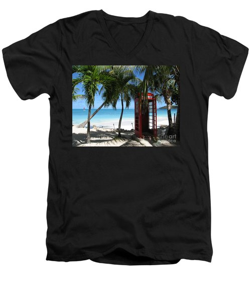 Antigua - Phone Booth Men's V-Neck T-Shirt by HEVi FineArt