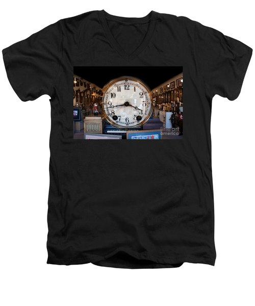 Men's V-Neck T-Shirt featuring the photograph Antique Clock Store by Gunter Nezhoda