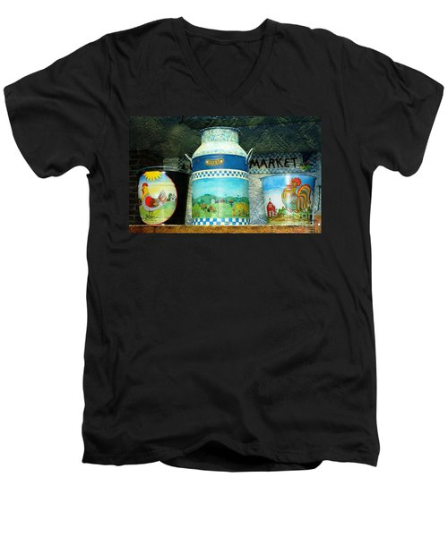 Men's V-Neck T-Shirt featuring the photograph Antique Dairy Milk Can And Pails by Judy Palkimas