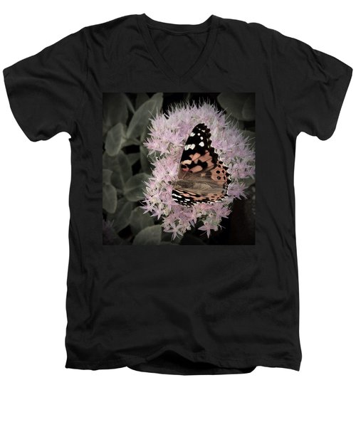 Men's V-Neck T-Shirt featuring the photograph Antique Monarch by Photographic Arts And Design Studio