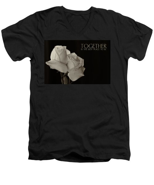 Antique Roses With Message Men's V-Neck T-Shirt
