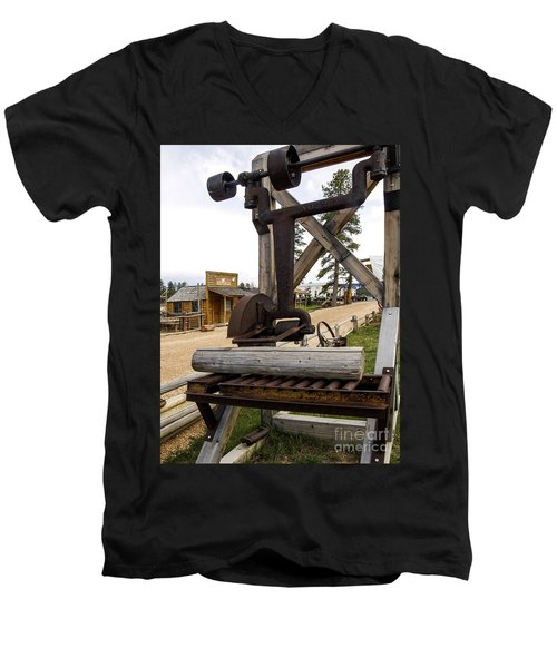 Men's V-Neck T-Shirt featuring the photograph Antique Table Saw Tool Wood Cutting Machine by Paul Fearn
