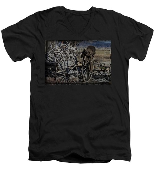 Antlers And My Saddle Men's V-Neck T-Shirt by Janice Rae Pariza