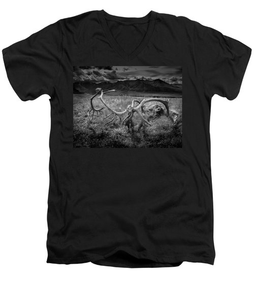 Antlers In Black And White Men's V-Neck T-Shirt by Andrew Matwijec