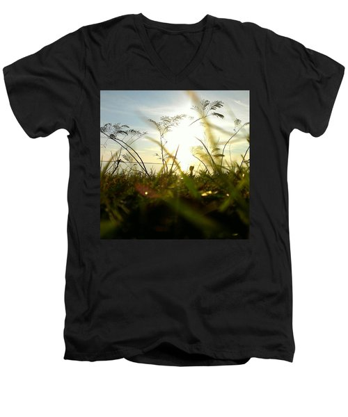 Men's V-Neck T-Shirt featuring the photograph Ant's Eye View by Thomasina Durkay