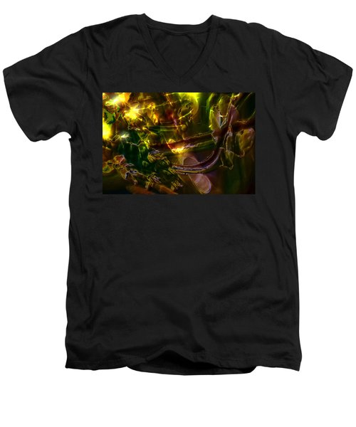 Men's V-Neck T-Shirt featuring the digital art Apocryphal - Tilting From Beastback by Richard Thomas