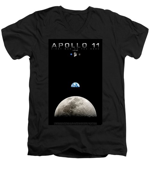 Apollo 11 First Man On The Moon Men's V-Neck T-Shirt
