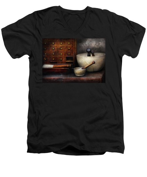 Apothecary - Pestle And Drawers Men's V-Neck T-Shirt