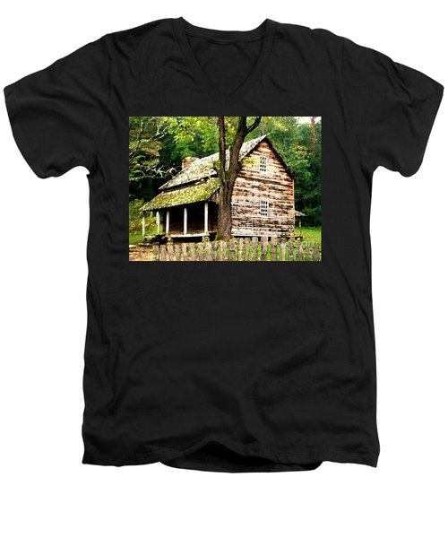 Appalachian Cabin Men's V-Neck T-Shirt by Desiree Paquette