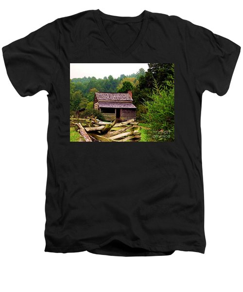 Appalachian Cabin With Fence Men's V-Neck T-Shirt by Desiree Paquette