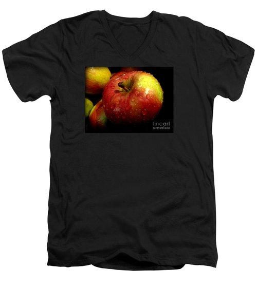 Apple In The Rain Men's V-Neck T-Shirt by Miriam Danar
