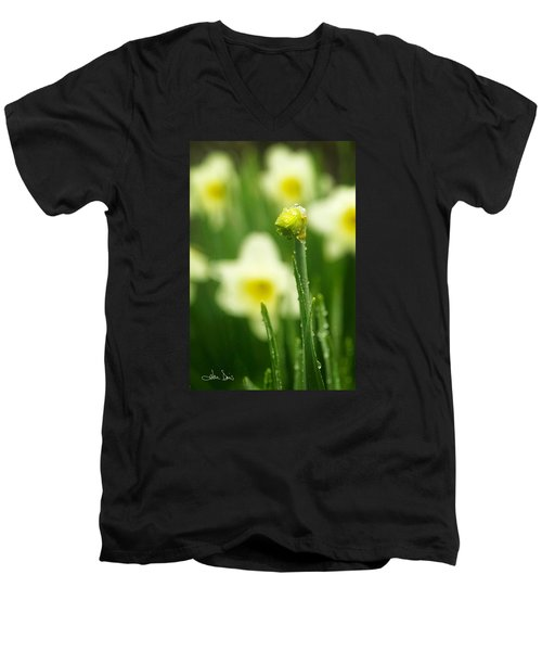 Men's V-Neck T-Shirt featuring the photograph April Showers by Joan Davis