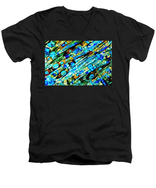 Aqua Brown Jade Gold Abstract Alcohol Inks Men's V-Neck T-Shirt