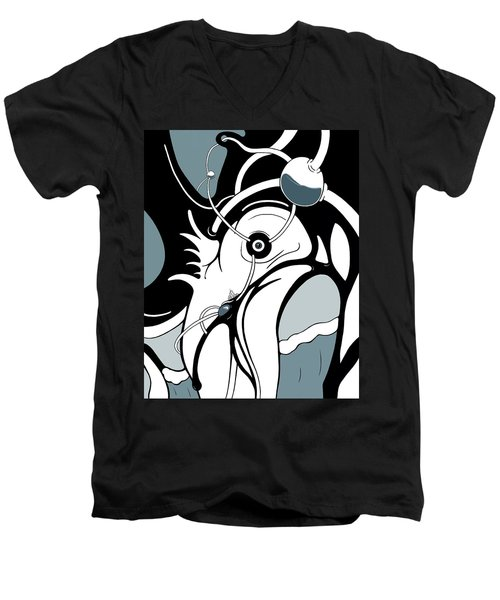 Aqua Grid Men's V-Neck T-Shirt