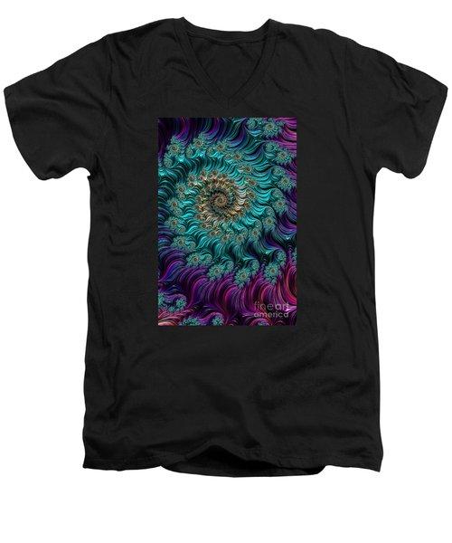 Aqua Swirl Men's V-Neck T-Shirt by Steve Purnell