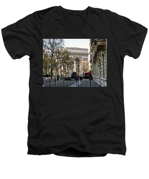 Arc De Triomphe Paris Men's V-Neck T-Shirt by Lynn Bolt