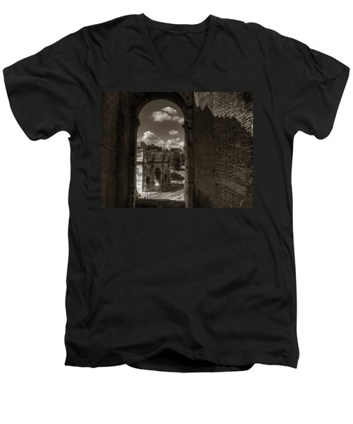 Arch Of Constantine From The Colosseum Men's V-Neck T-Shirt