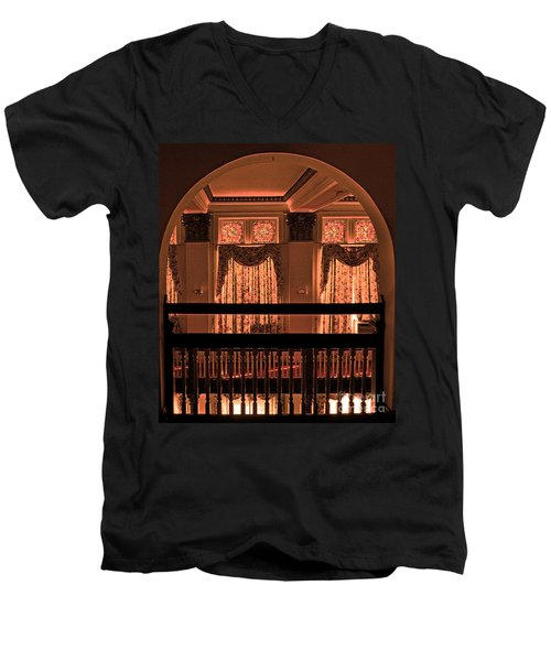 Arch Of Light In Near Night Men's V-Neck T-Shirt