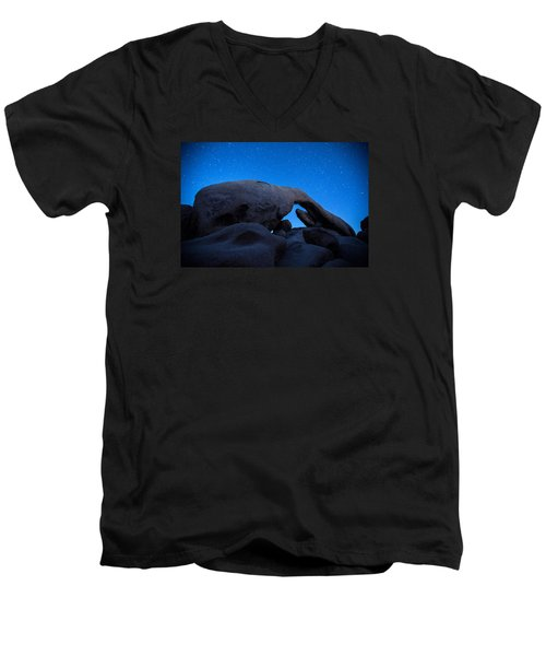 Men's V-Neck T-Shirt featuring the photograph Arch Rock Starry Night 2 by Stephen Stookey