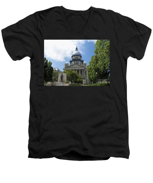 Architecture - Illinois State Capitol  - Luther Fine Art Men's V-Neck T-Shirt by Luther Fine Art