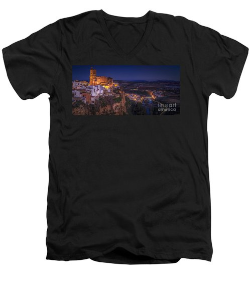 Arcos De La Frontera Panorama From Balcon De La Pena Cadiz Spain Men's V-Neck T-Shirt