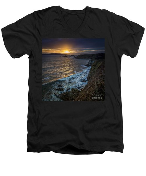 Ares Estuary Mouth Galicia Spain Men's V-Neck T-Shirt