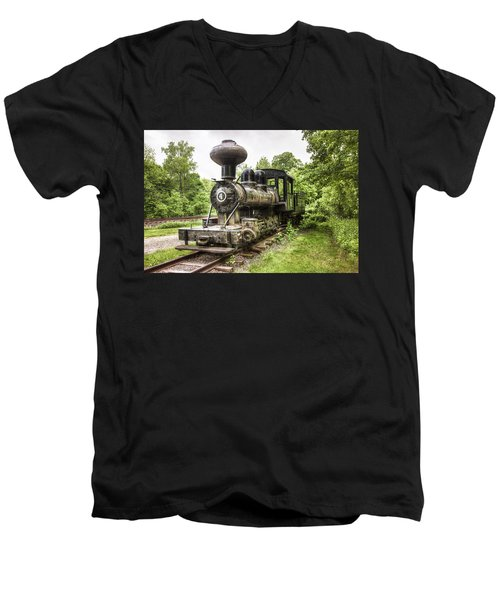 Men's V-Neck T-Shirt featuring the photograph Argent Lumber Company Engine No. 4 - Antique Steam Locomotive by Gary Heller