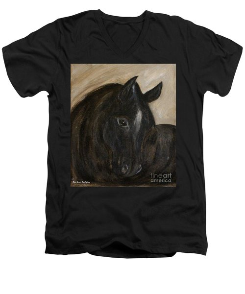 Men's V-Neck T-Shirt featuring the painting Arion by Barbie Batson