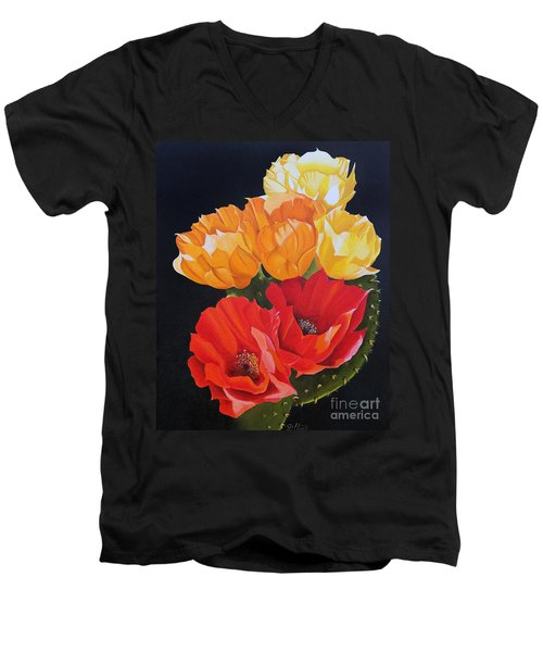 Arizona Blossoms - Prickly Pear Men's V-Neck T-Shirt by Debbie Hart