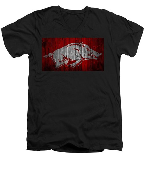 Arkansas Razorbacks Barn Door Men's V-Neck T-Shirt by Dan Sproul