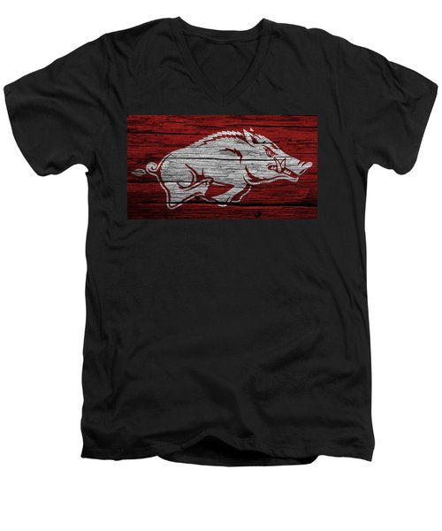 Arkansas Razorbacks On Wood Men's V-Neck T-Shirt by Dan Sproul