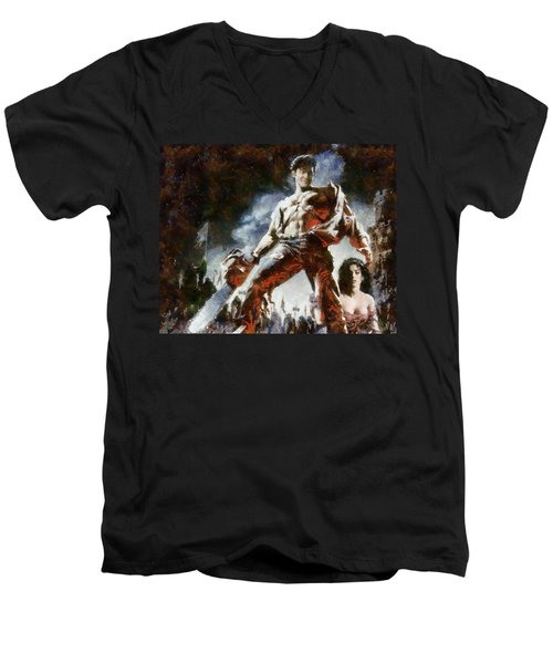 Men's V-Neck T-Shirt featuring the painting Army Of Darkness by Joe Misrasi