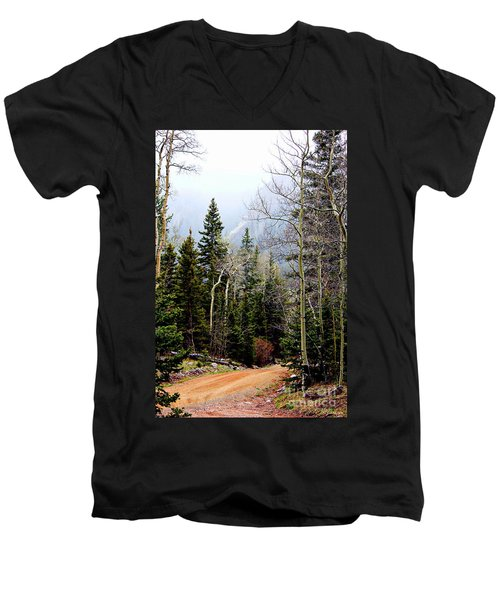 Men's V-Neck T-Shirt featuring the photograph Around The Bend by Barbara Chichester