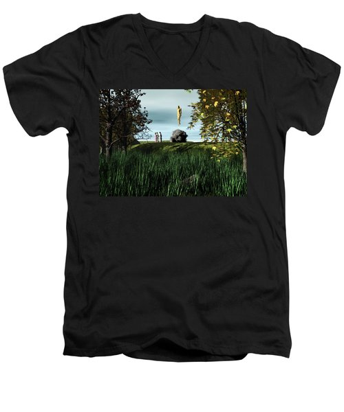 Men's V-Neck T-Shirt featuring the digital art Arrival Of The Deceiver by John Alexander