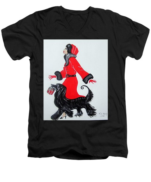 Men's V-Neck T-Shirt featuring the painting Art Deco  Girl With Red  Coat by Nora Shepley