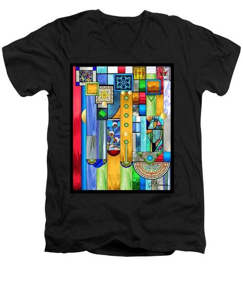 Art Deco Stained Glass 1 Men's V-Neck T-Shirt