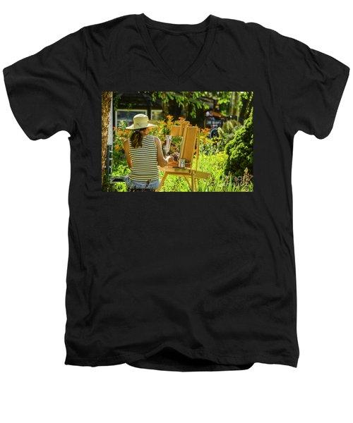 Art In The Garden Men's V-Neck T-Shirt by Mary Carol Story