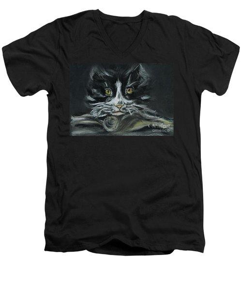 Men's V-Neck T-Shirt featuring the pastel Arthur  by Teresa White