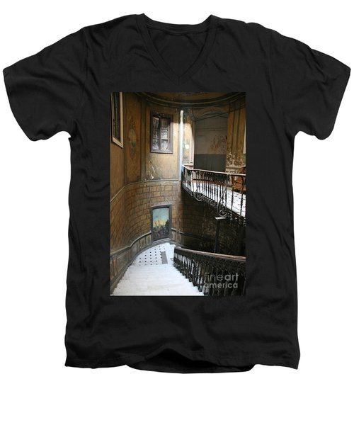 Artistic Staircase In Tbilisi Men's V-Neck T-Shirt