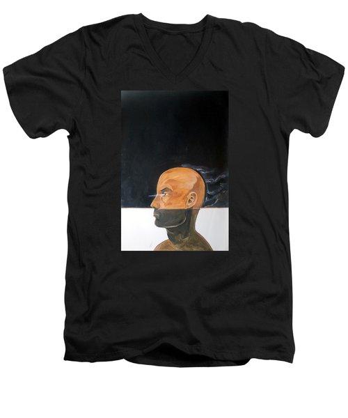 Men's V-Neck T-Shirt featuring the painting As Vapor Gutural by Lazaro Hurtado