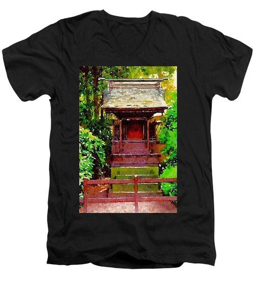 Asian Temple Men's V-Neck T-Shirt by Daniel Precht
