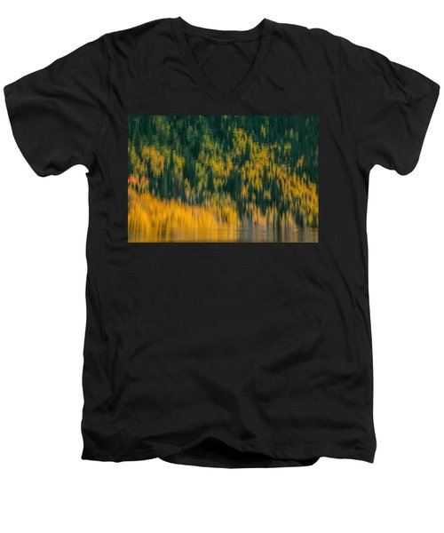 Men's V-Neck T-Shirt featuring the photograph Aspen Abstract by Ken Smith