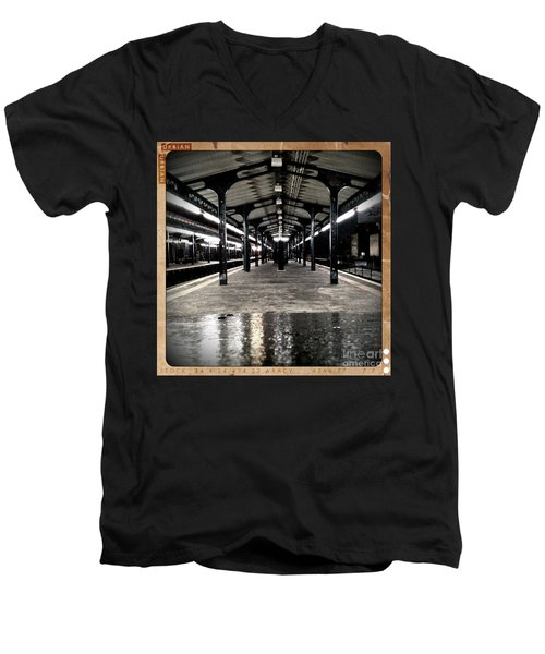 Men's V-Neck T-Shirt featuring the photograph Astoria Boulevard by James Aiken