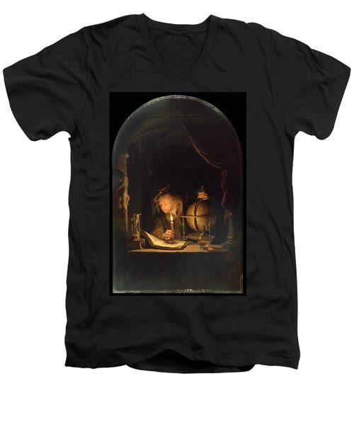 Astronomer By Candlelight Men's V-Neck T-Shirt by Gerrit Dou