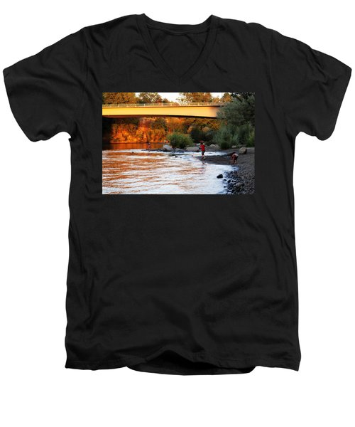 Men's V-Neck T-Shirt featuring the photograph At Rivers Edge by Melanie Lankford Photography